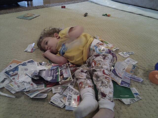 Caleb takes a break on some coupons